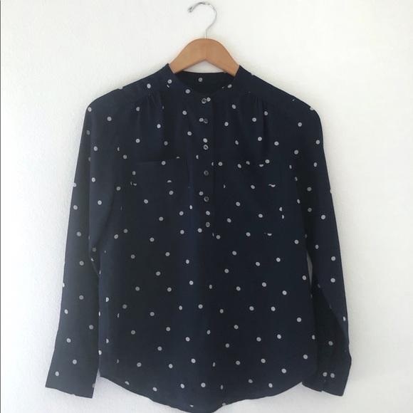 J. Crew Tops - J. Crew Silk popover shirt polka dot Navy Blue